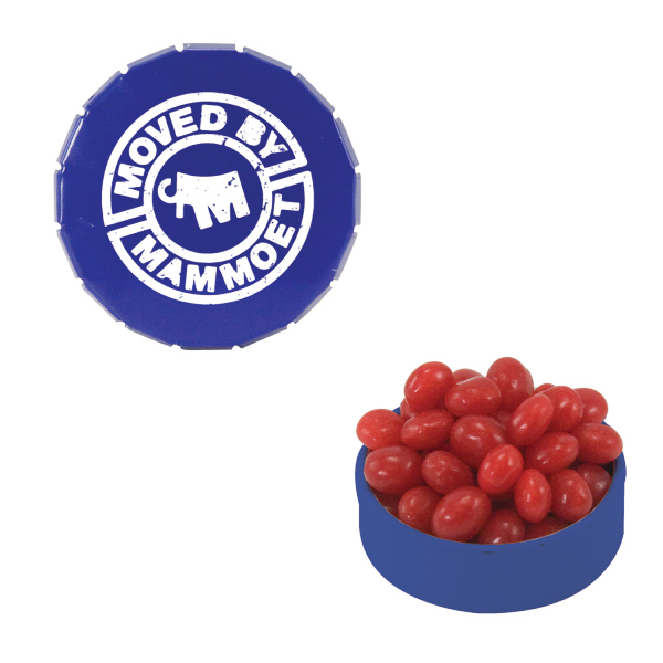 Personalized Small Blue Snap-Top Mint Tin with Cinnamon Red Hots