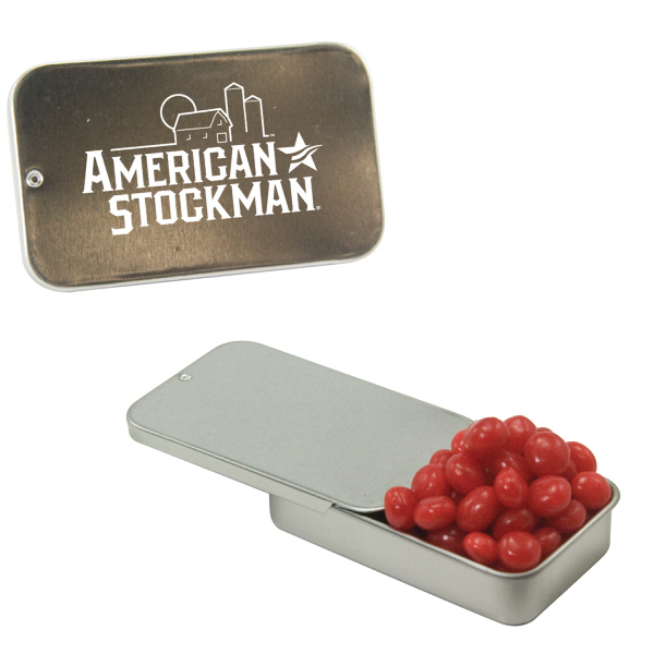 Silver Slider Tin with Cinnamon Red Hots