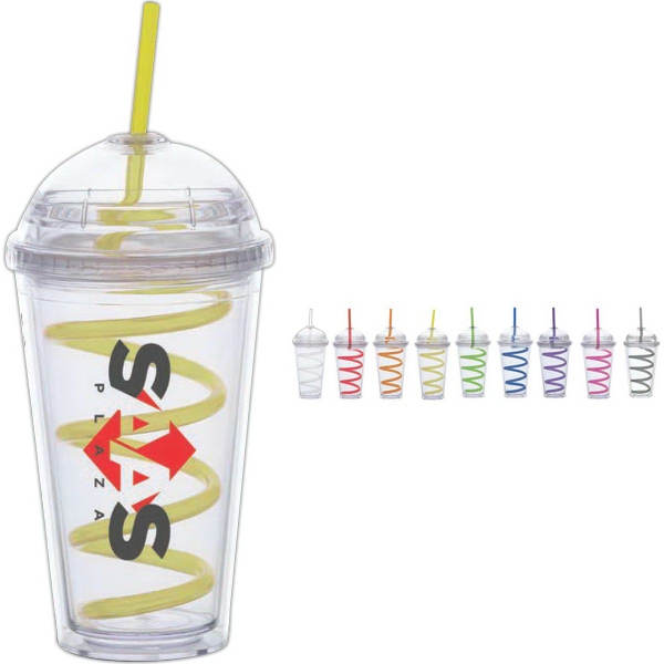 Big Top Cups With Straws : Carnival cup with color curly straw lid oz
