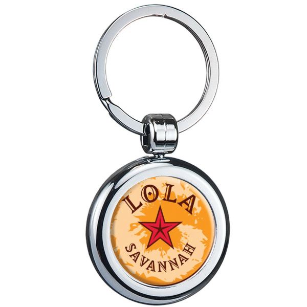Printed Two-Sided Chrome Plated Plastic Domed Keytag