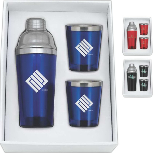 Cocktail Shaker and Tumblers Gift Set