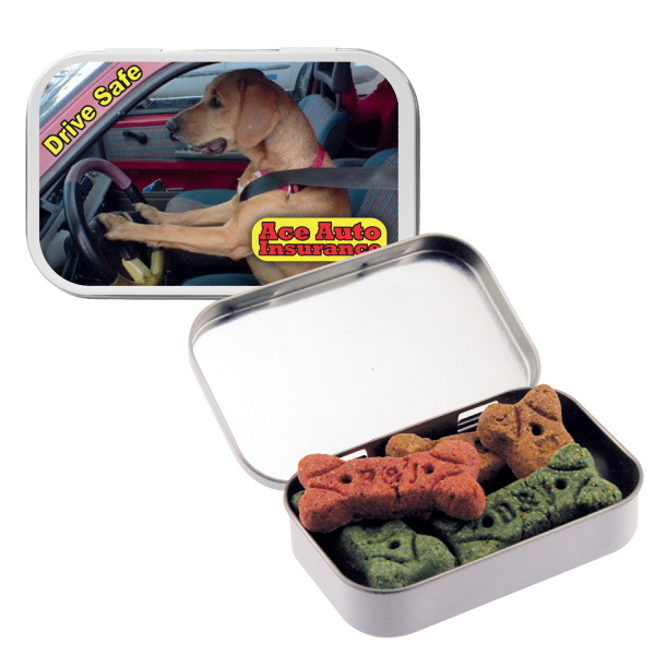 Personalized Silver Large Tin with Dog Bones/Treats/Snacks