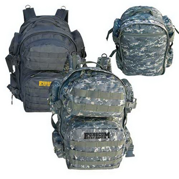 Imprinted Heavy duty expandable backpack with MOLLE straps