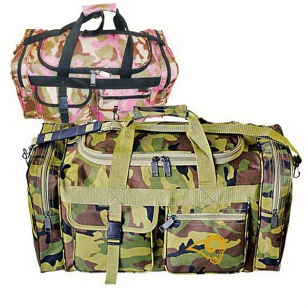 Imprinted Camo travel duffel