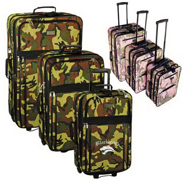 Personalized 3-piece expandable camo rolling luggage set