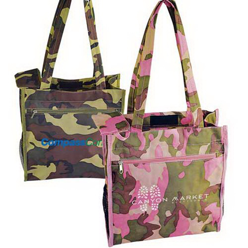 Personalized Camo full-gusseted zipper tote