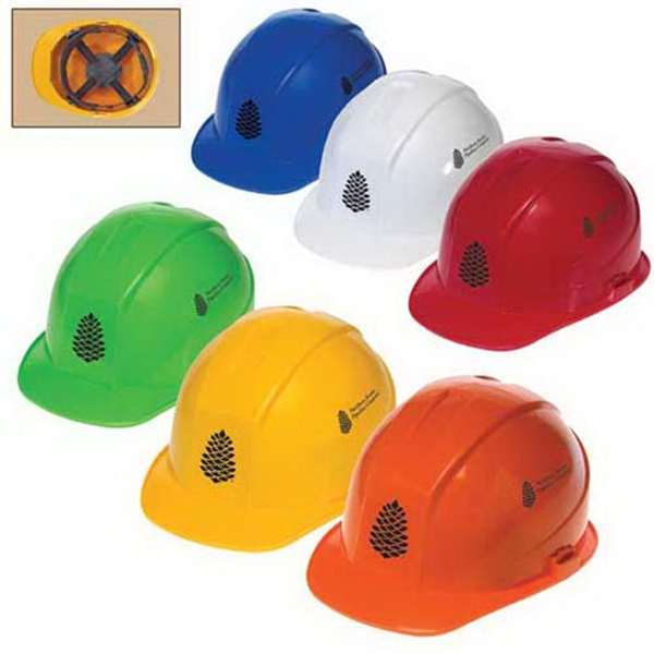Imprinted Cap style hard hat with 4-point pinlock suspension