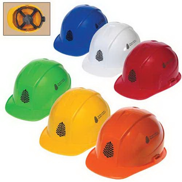 Customized Cap style hard hat with 4-point ratchet suspension