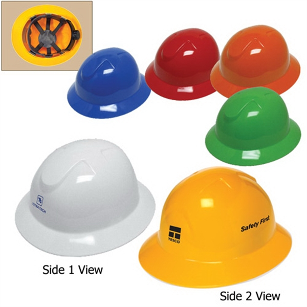 Full brim hard hat with 6-point ratchet suspension