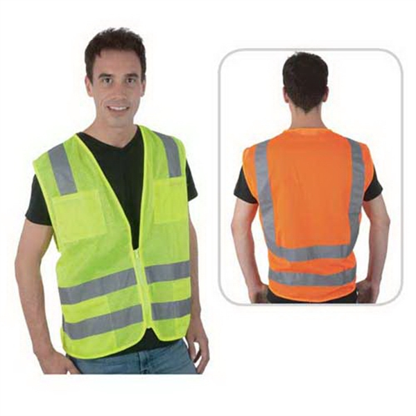 Imprinted Class 2 compliant dual horizontal stripe mesh safety vest