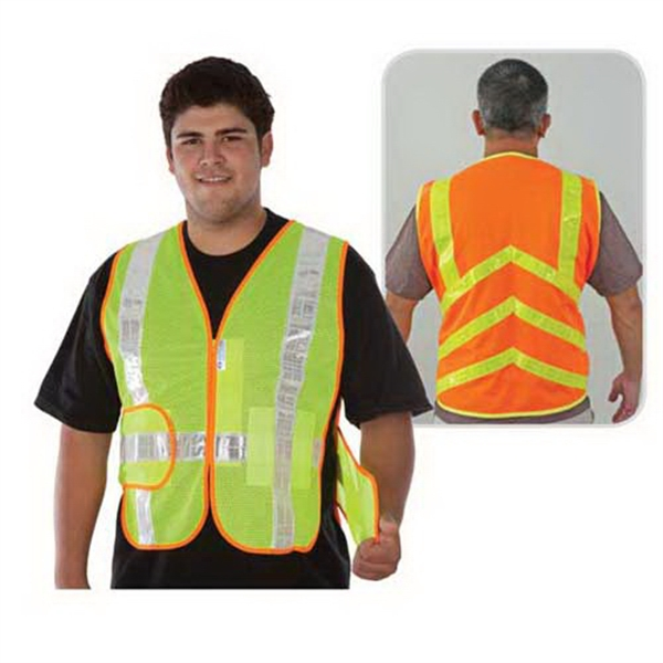 Custom Class 2 compliant chevron design stripe mesh safety vest