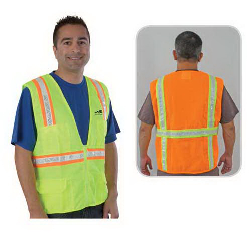 Customized Traditional surveyor safety vest, solid front and mesh back