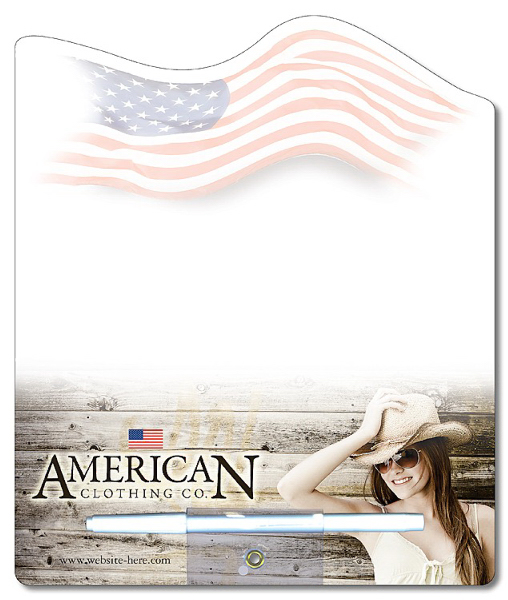 Custom Memo Board - 8.5 x 10.125 Laminated Shaped (Flag) - 14 pt