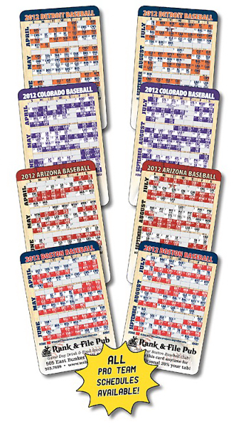 Printed Laminated Wallet Card - 3.5x2.25 Baseball Schedule (2-Sided)