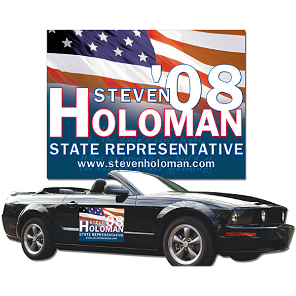 "Personalized Political Magnetic Vehicle Sign 24"" x 18"" Round Corners"