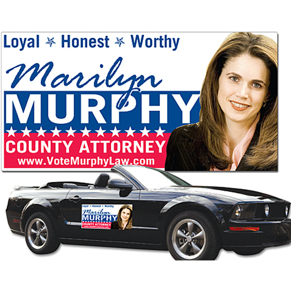 "Custom Political Magnetic Vehicle Signs 24"" x 12"" Round Corners"