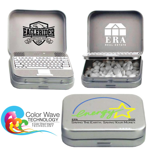 Imprinted Laptop Tin with Chocolate Mints