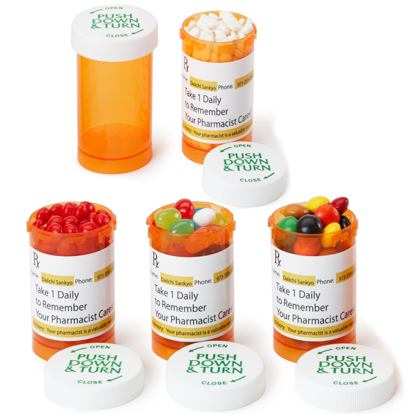 Custom Large Amber Pill Bottle with jelly beans