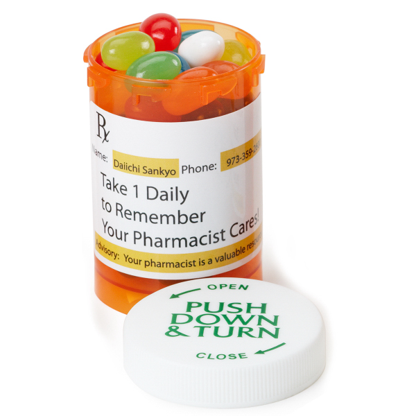 Imprinted Small Amber Pill Bottle with chocolates