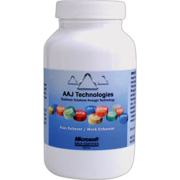 Promotional Large White Pill Bottle with jelly beans
