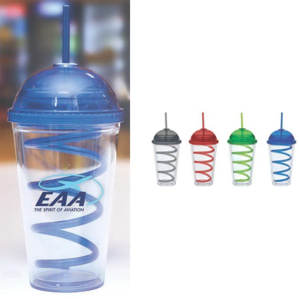 16 oz Color Domed Lid Big Top Curly Straw Carnival Cup