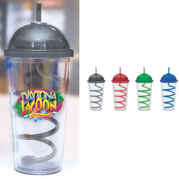 20 oz Color Domed Lid Big Top Curly Straw Carnival Cup