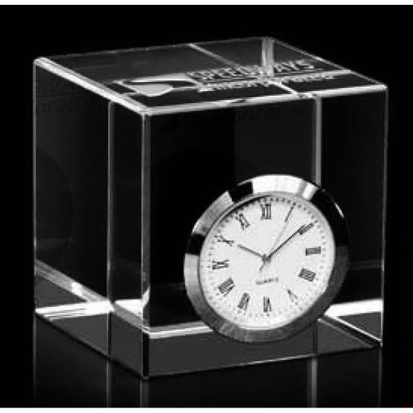 Optical Crystal Cube Award with Silver Clock