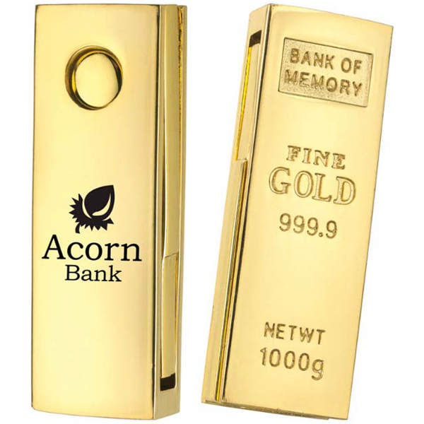 "Personalized Mini ""Golden Nugget"" USB 2.0 Flash Drive"