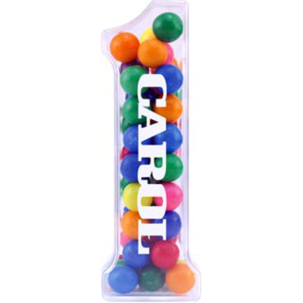 Printed Number One jar with Jelly Beans