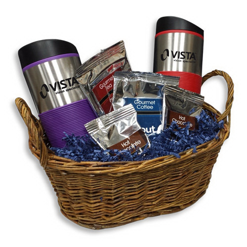 Imprinted Gift basket with coffee, tea and water bottles