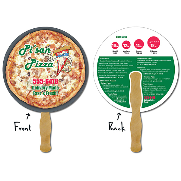 Printed Delivery Hand Fan - 8.5 Inch Diameter Circle
