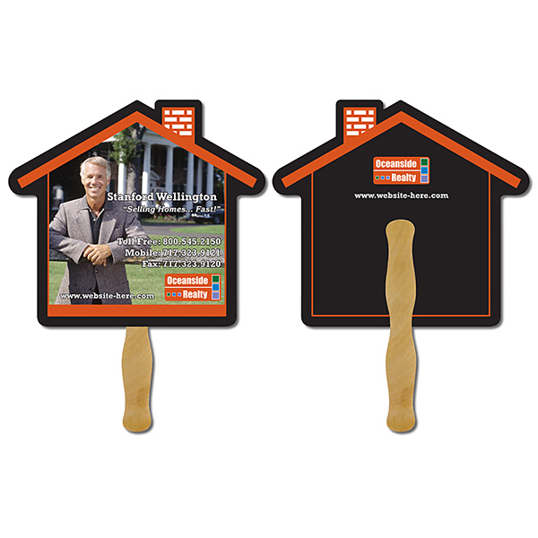 Printed Real Estate Hand Fan - 9.625 x 8.5 House Shape