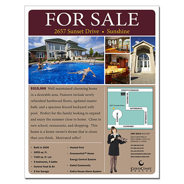 Personalized Real Estate Flyer - 8.5 x 11 - 4 pt. Gloss Text