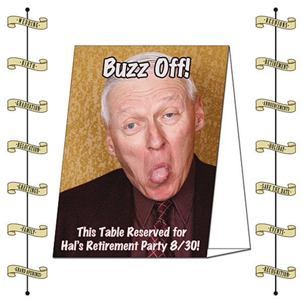 Personalized Announcement Table Tent - Laminated (5x7 - Folded) - 14 pt