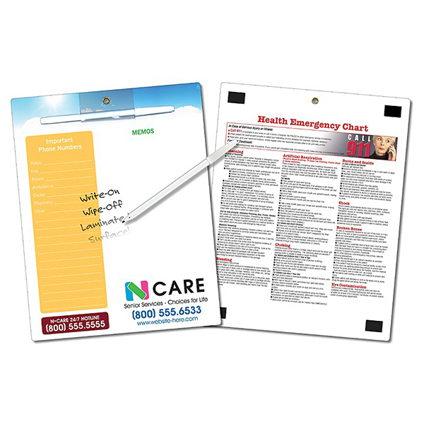 Custom Healthcare Memo Board - 8.5 x 11 Laminated - 14 pt