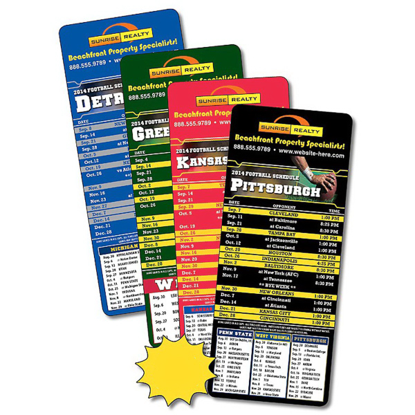 Imprinted Sports Laminated Card - 3.5 x 8.5 -Football Schedules