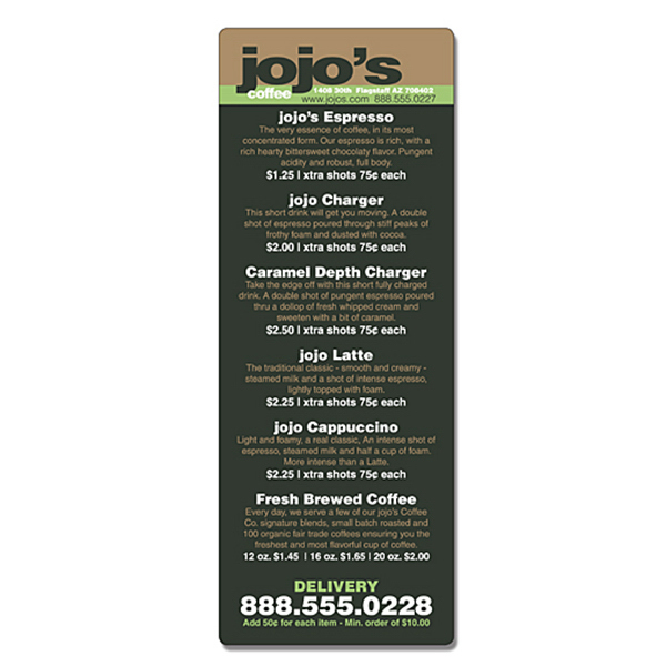 Personalized Delivery Laminated Menu Card - 3.5 x 8.5