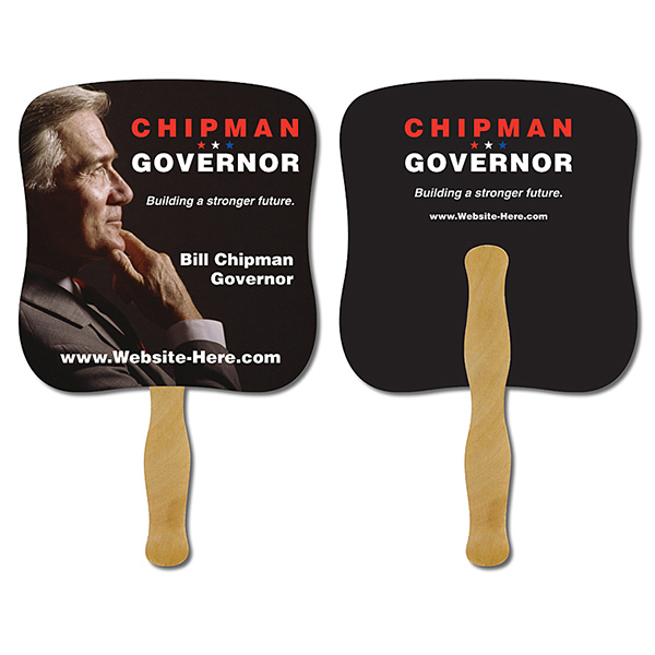 Promotional Political Hand Fan - 7.375 x 7.75 Laminated