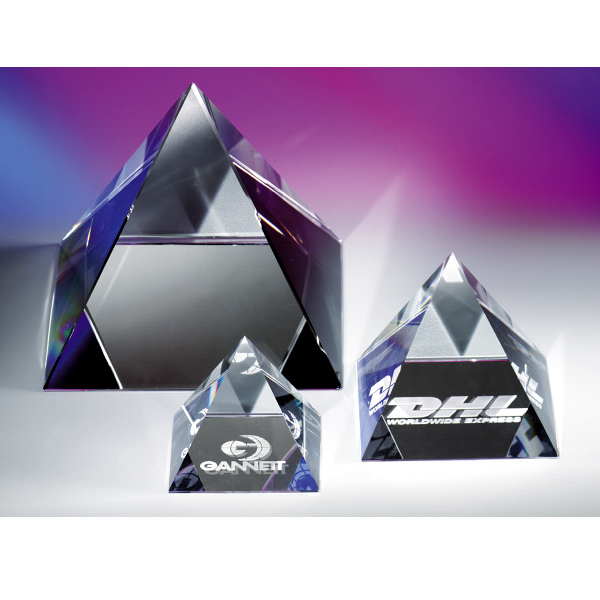 "Promotional The ""Pyramid"" Crystal Paperweight by Crystal World"