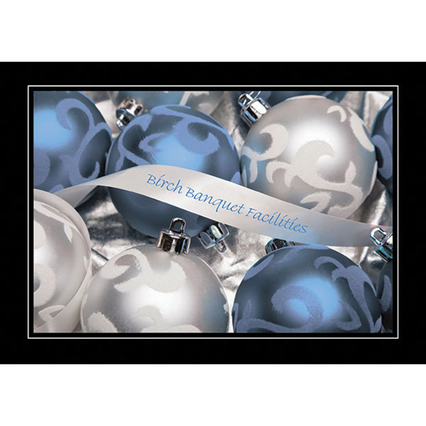 Blue and Silver Ornaments Greeting Card