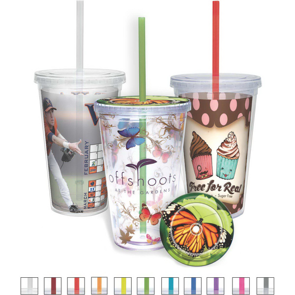 Carnival Cup with Vivid Print - Color Straw, Clear Lid