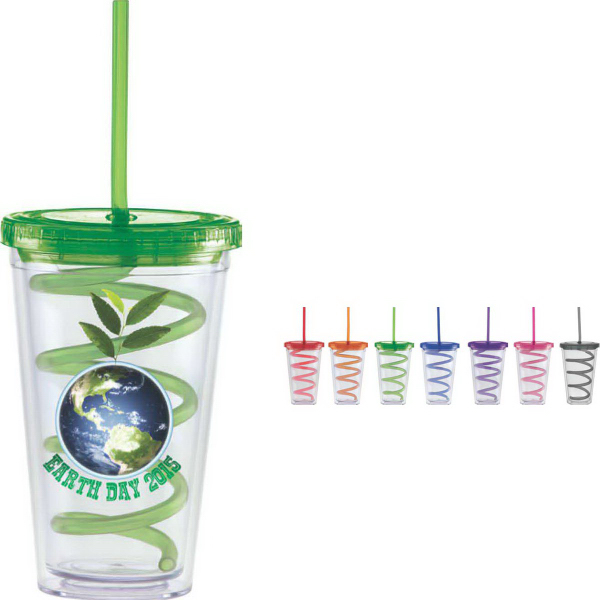 Carnival Cup with Color Curly Straw, Color Lid, 16 oz