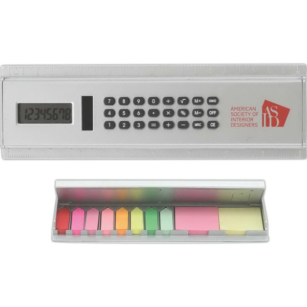 Solar Calculator Ruler w/ Sticky Notes