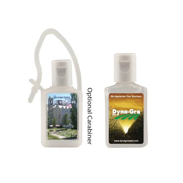 1/2 oz. Flat Antibacterial Hand Sanitizer Bottle - Carabiner