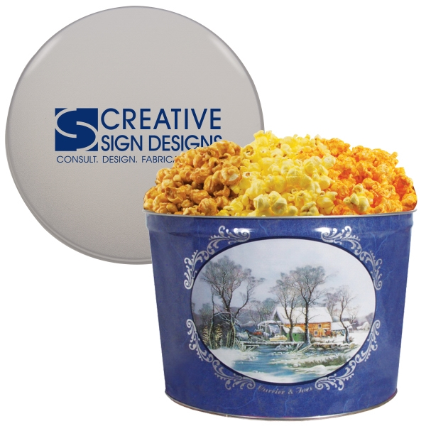 Designer Two Gallon Popcorn Tin-Three Flavors-Currier & Ives