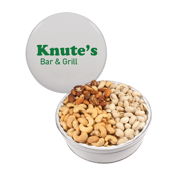 The White Royal Tin with Mixed Nuts, Pistachios, and Cashews