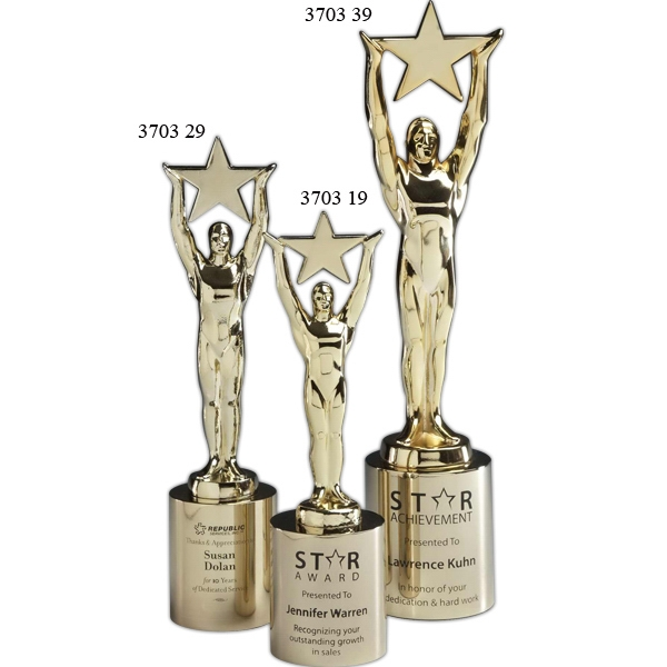 Promotional Star Achievement Gold Plated Award & Base