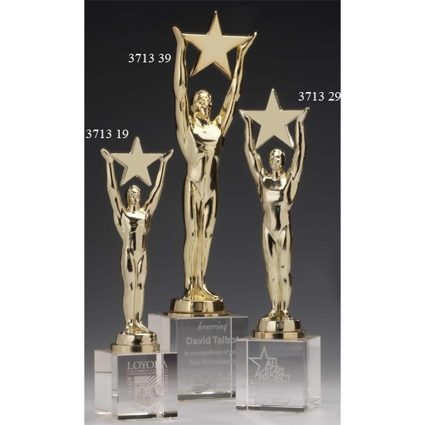 Star Achievement Gold-Plated Award With Optical Crystal Base