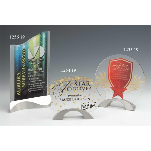 Personalized Strata Acrylic Award with Satin Pewter Base