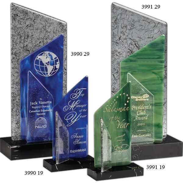 Customized Blue Sail Award Art Glass with Black Marble Base